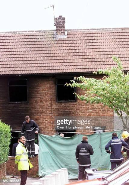Firemen at the scene where a woman and 3 children died after fire ripped through their family home The blaze in Shildon County Durham broke out...