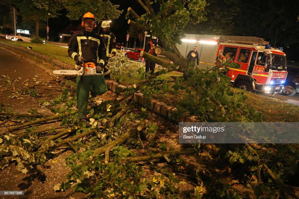 Firemen clear an uprooted tree that was blocking traffic in Zehlendorf district following a storm front on October 5, 2017 in Berlin, Germany. Storm front 'Xavier' is hitting northern and central Germany hard, leading to the closure of airports, rail lines, commuter trains and buses and even highways across the region. Authorities are reporting two deaths so far, both in Brandenburg state.