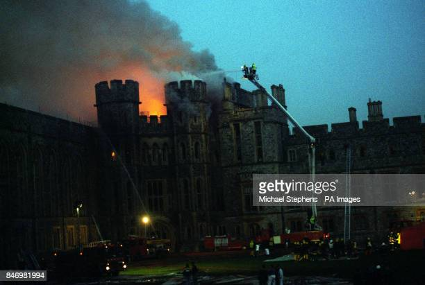 Firemen continue to tackle the blaze at Windsor Castle