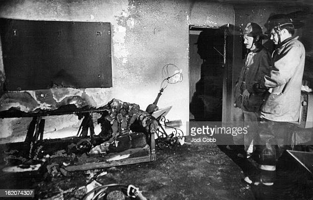 MAR 3 1975 MAR 4 1975 Firemen Examine Charred Living Room Of West Denver Home Mrs Elizabeth Bryant suffered burns over 75 percent of her body in the...