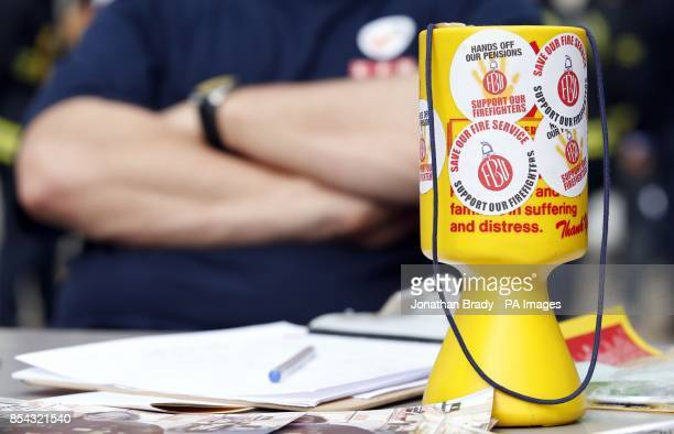 Firemen on the picket line at Euston London Fire Brigade station house London as firefighters and Fire Service staff across England and Wales walked...