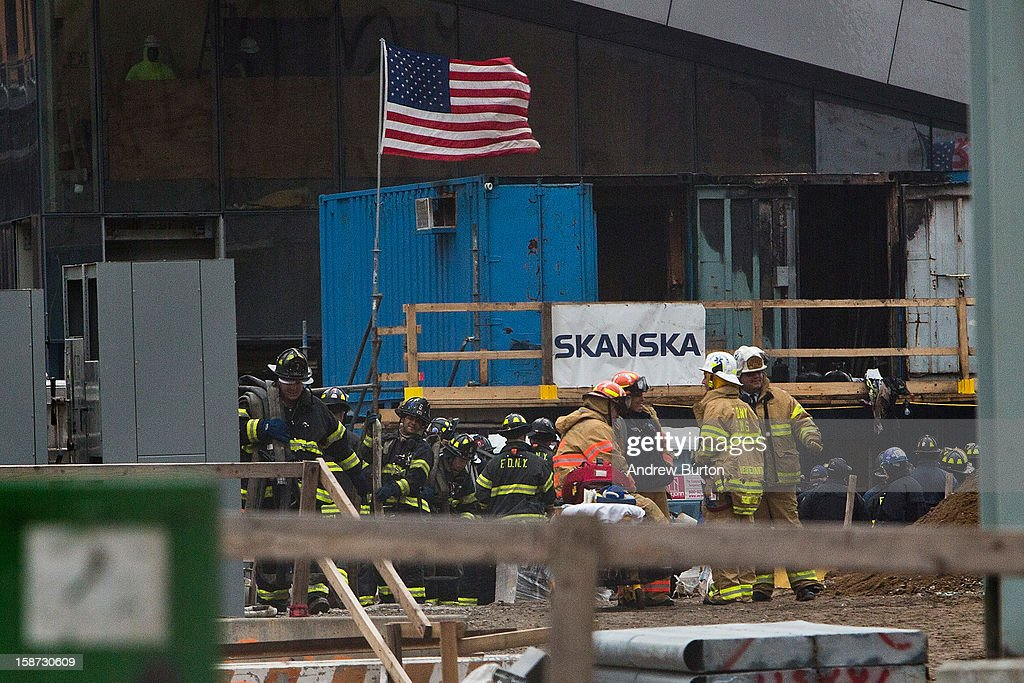 Firemen respond to a two-alarm fire at the World Trade Center on December 26, 2012 in New York City. The fire, which broke out in the construction trailers surrounding the World Trade Center building, was quickly contained.