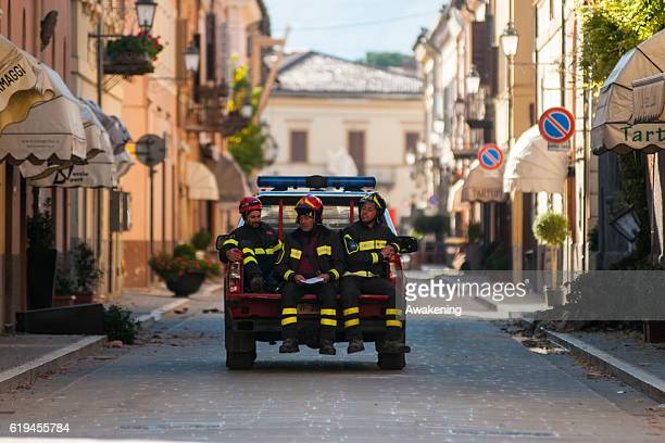 Firemen work inside the red area of Norcia on October 31, 2016 in Perugia, Italy. A 6.6 magnitude earthquake struck central Italy in the Perugia area...