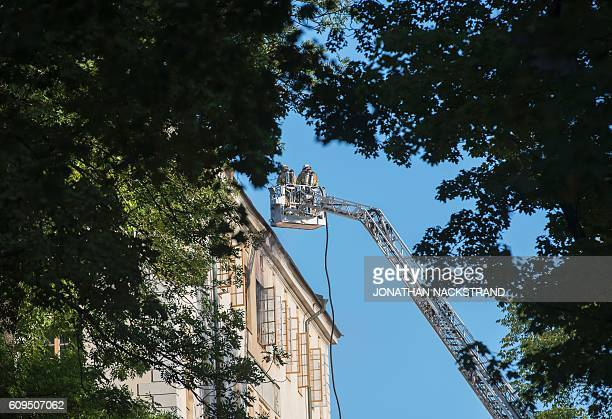 Firemen work on putting out a fire at the Royal Institute of Art located next to the Moderna Museet the Museum of Modern Art on September 21 2016 in...