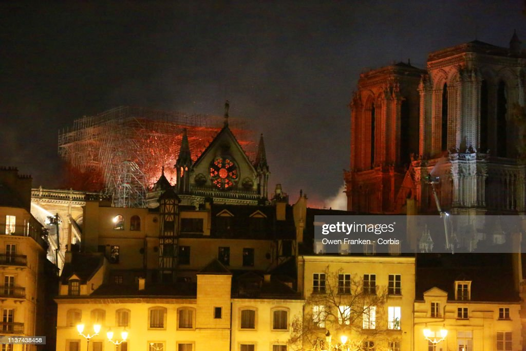 Fire Breaks Out At Iconic Notre-Dame Cathedral In Paris : News Photo