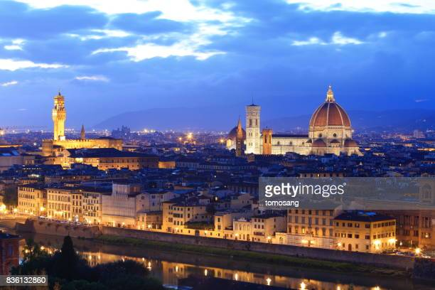 firenze at at blue moment - historic district stock pictures, royalty-free photos & images