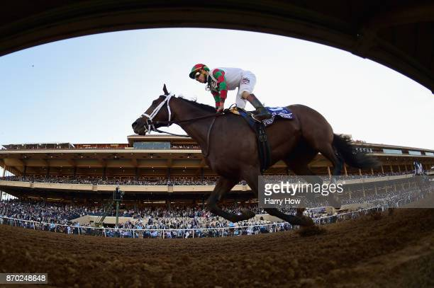 Firenze Fire ridden by Irad Ortiz Jr races in the Sentient Jet Breeders' Cup Juvenile on day two of the 2017 Breeders' Cup World Championship at Del...