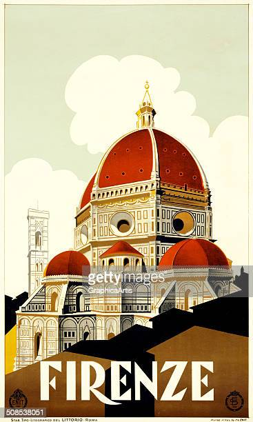 Firenze' travel poster with Santa Maria del Fiore the Duomo of Florence lithograph c 1930