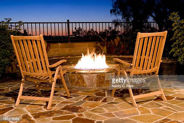 fire-pit, back yard outdoor, seating, fire, sunset, view, luxury - fire pit stock pictures, royalty-free photos & images