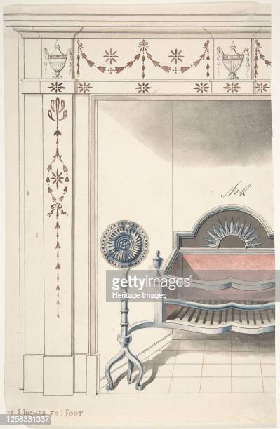 Fireplace and Grate Design with Sunflower Andirons 19th century Artist Anon