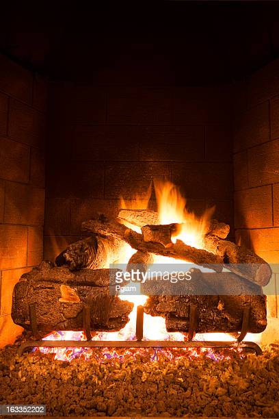 Fireplace flames in winter