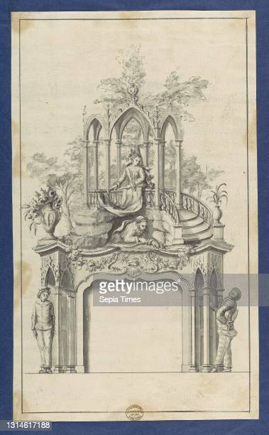 Fireplace Flanked by Commedia dell'arte Figures with Overmantle Showing a Gothic Gazebo, in Chippendale Drawings, Vol. I, ca. 1753–54, Black ink,...