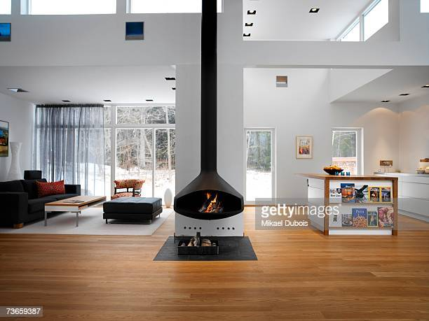 A fireplace in a living room.