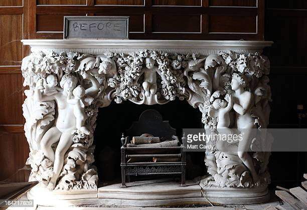 A fireplace in a unrestored room in the National Trust's Dyffryn House is seen on March 27 2013 near Cardiff Wales The historic Dyffryn House which...