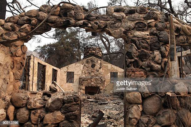 A fireplace remains at a home that was burned by the Station Fire September 2 2009 at Vogel Flats near Tujunga California Fire officials said that...