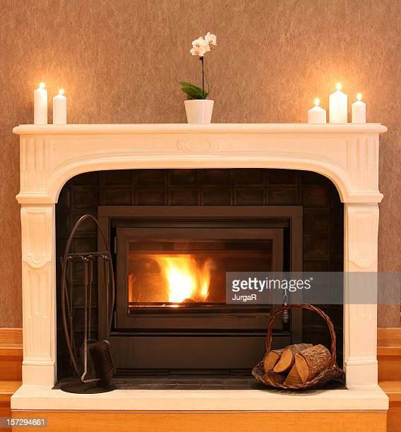 Cheminée avec feu de bois de chauffage dans la confortable salle de séjour
