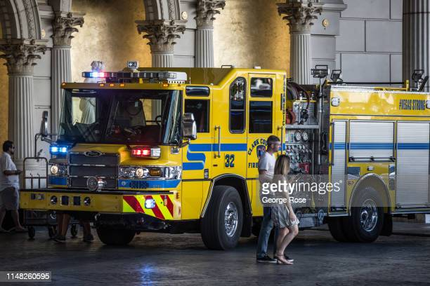 Fire/Rescue truck is parked in the Caesars Palace Hotel Casino valet parking on May 5 2019 in Las Vegas Nevada As temperatures begin to heat up...