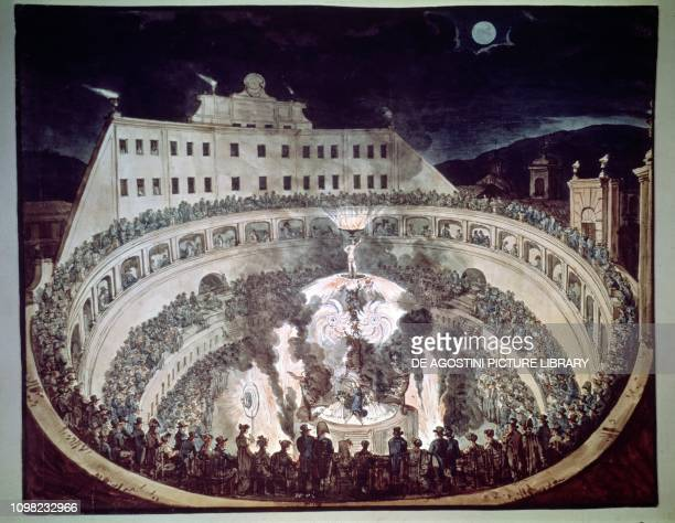 Fires at the Ampitheatre Correa or Corea in Rome Italy illustration