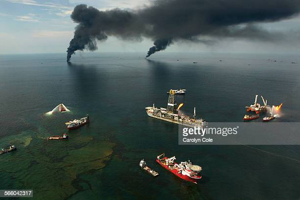 MEXICO––JUNE 19 2010––Fires burn around the site of the BP Deepwater Horizon rig site