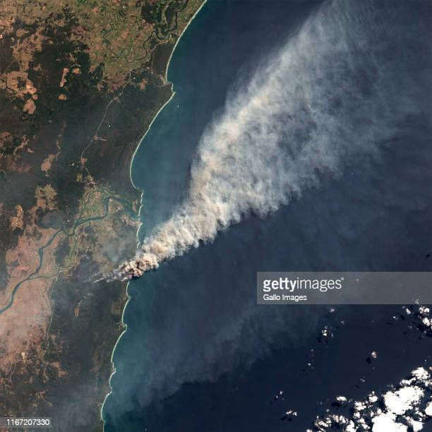Fires in Clarence Valley at Shark Creek and Yuraygir National Park in Northern New South Wales Australia Smoke extending out over the South Pacific...