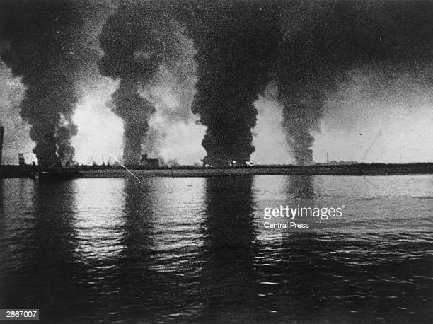 Fires raging at Dunkirk seen from a destroyer during the evacuation of British troops