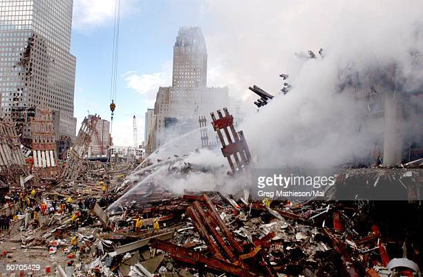 Fires still burning amidst the rubble of the World Trade Center three days after the Sept. 11 terrorist attack.