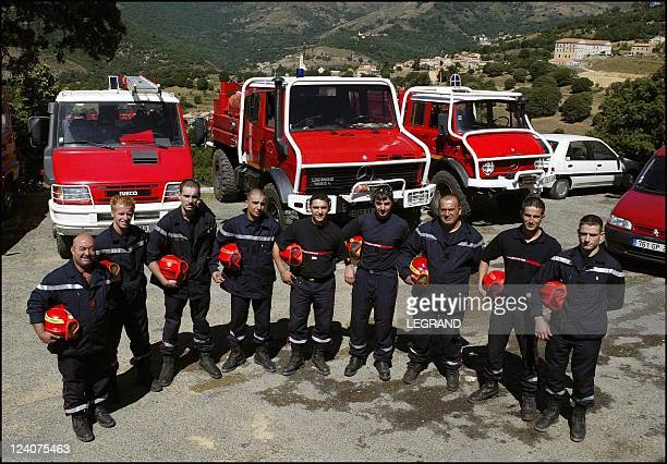 Fires the 26 volunteer firefighters of Olmi Cappella at work In Corsica France On September 03 2003