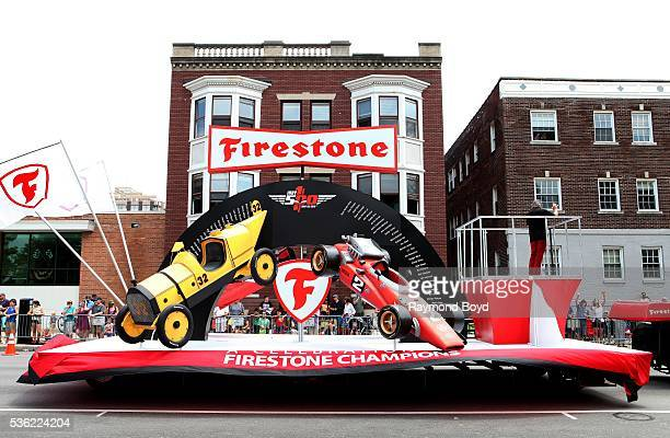 'Firestone' float makes its way South on Pennsylvania Street during the Indianapolis 500 Festival Parade in downtown Indianapolis Indiana on May 28...