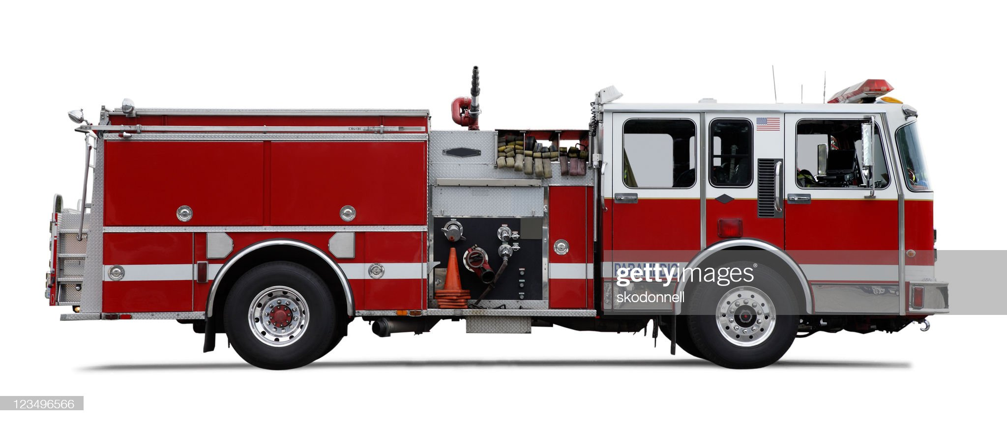Firetruck isolated on white : Stock Photo