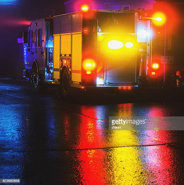firetruck on scene - firetruck stock photos and pictures
