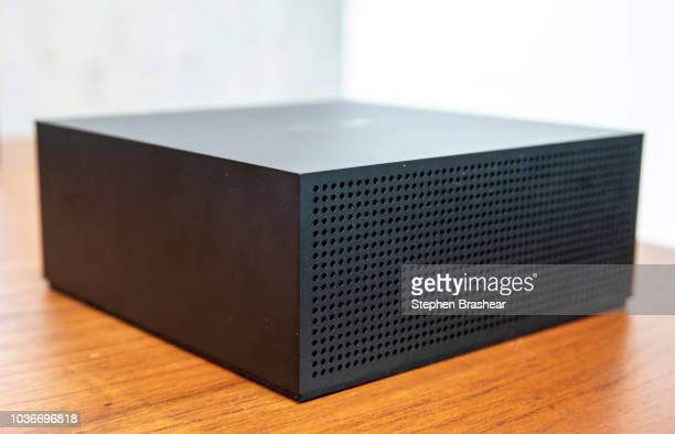 A 'Firetv Recast' which allows users to record overtheair television to a DVR is pictured at Amazon Headquarters folllowing a launch event on...
