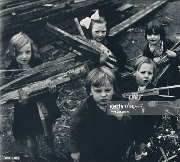 'Firewood' 1941 Wartime children collect firewood amongst the rubble From Air of Glory by Cecil Beaton [His Majesty's Stationery Office London...