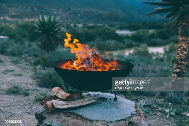 firewood burning in fire pit - fire pit stock pictures, royalty-free photos & images