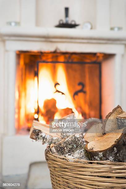 Firewood in front of fire