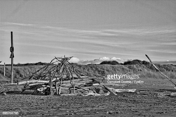 firewood on field against sky - campbell downie stock pictures, royalty-free photos & images
