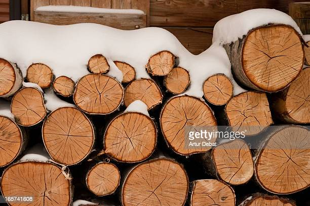 Firewood with snow in Alpe d'Huez.