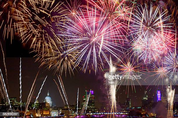 firework and night view of st. paul's cathedral - firework display stock pictures, royalty-free photos & images