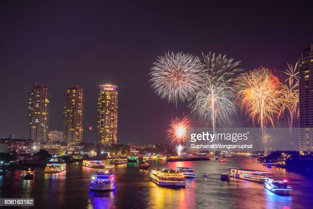 Firework at Chao Phraya River in countdown celebration party, Bangkok Thailand