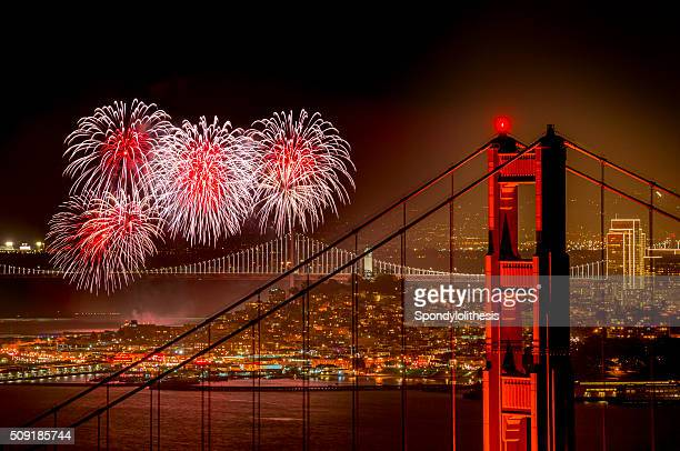 firework at san francisco, california - bay bridge stock pictures, royalty-free photos & images