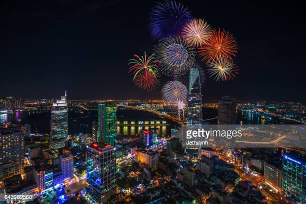 Firework celebrating New Year 2017 in Ho Chi Minh city