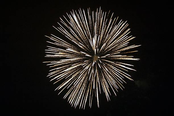 Firework Display Against Clear Sky At Night Wall Art