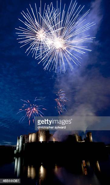 Firework display at Caerphilly Castle in South Wales. The water filled moat around the castle creates great reflections in this image. Caerphilly...