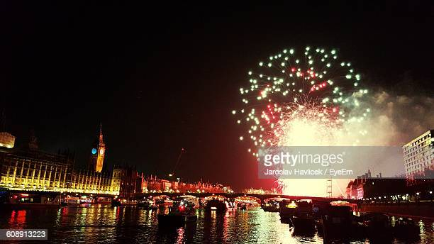 Firework Display By Thames River At Night