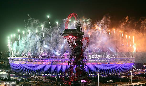 Firework display heralds the end of the Opening Ceremony of the London 2012 Paralympics at the Olympic Stadium on August 29, 2012 in London, England.