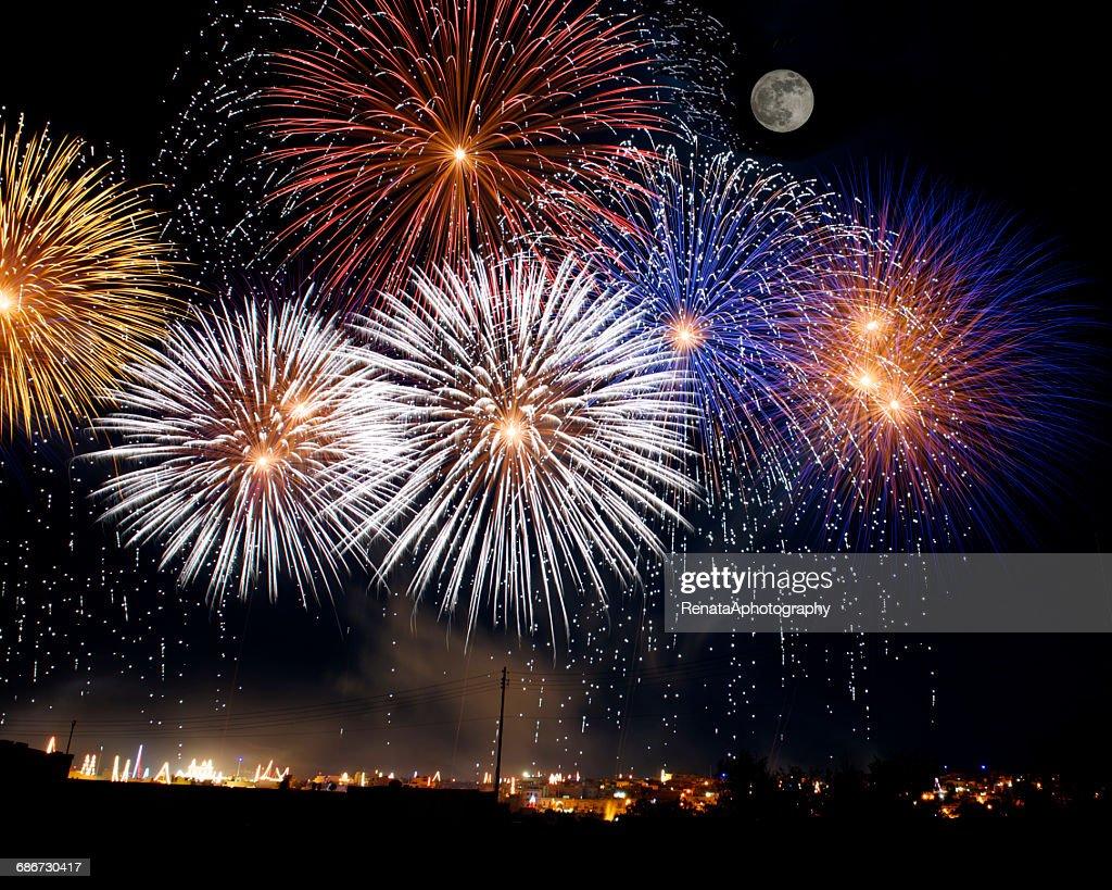 Firework display, Malta : ストックフォト