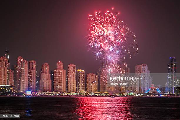 Firework display on Jumeriah Beach during the annual UAE National Day Celebrations on December 03 2015 in Dubai United Arab Emirates