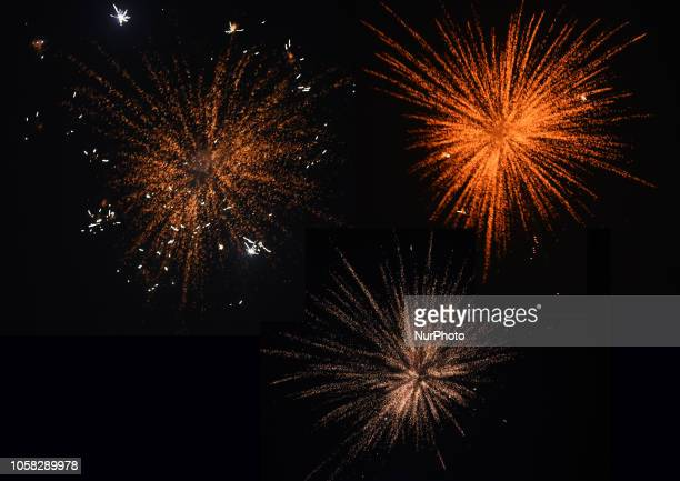 Firework display on the eve of 'Diwali' festival on November 6 2018 in KolkataIndia