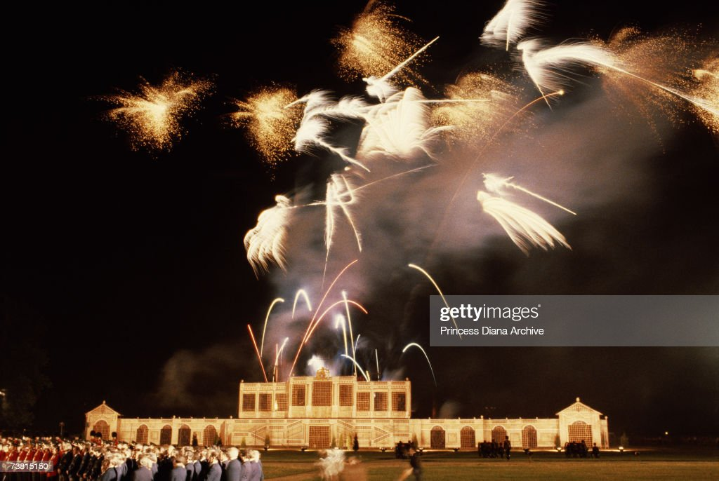 A firework display over London on the eve of Charles and Diana's wedding, 28th July 1981,