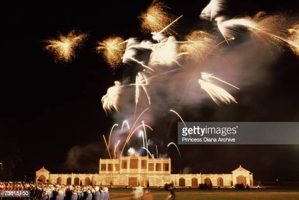 Firework display over London on the eve of Charles and Diana's wedding, 28th July 1981,