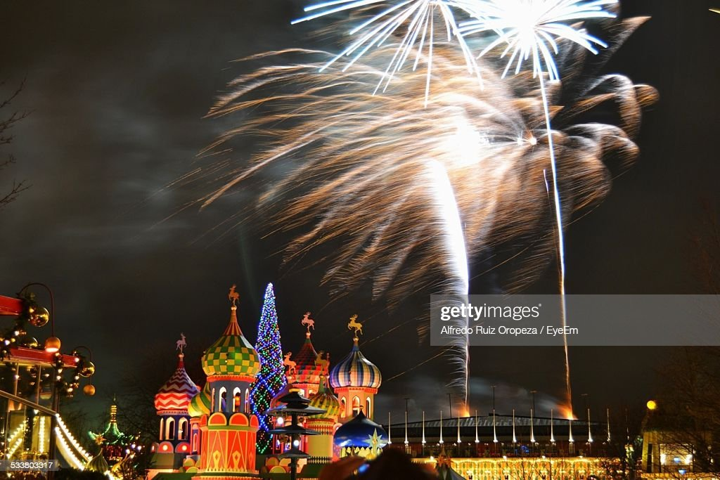 Firework Display Over Saint Basil Cathedral : Foto stock